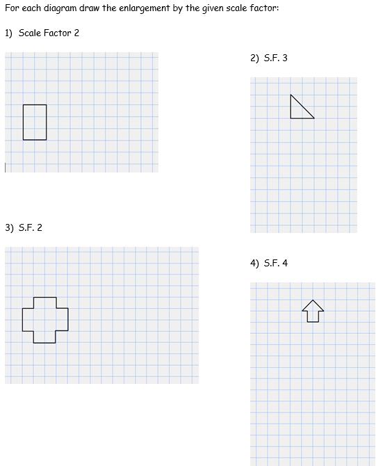 enlargements - worksheet part A