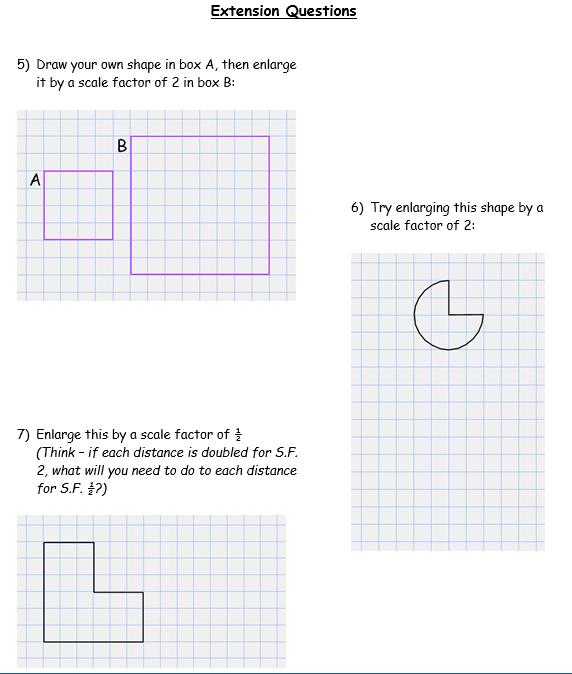 enlargements - worksheet part B