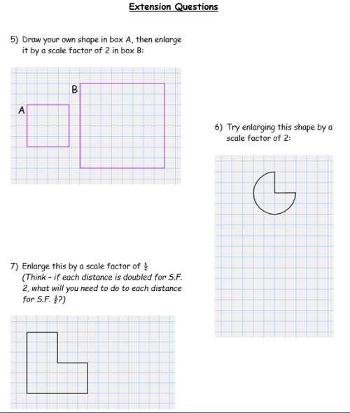 enlargements - worksheet part B